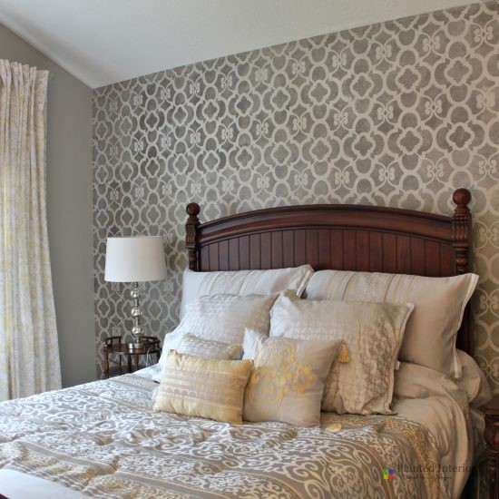 bedroom stencil accent wall