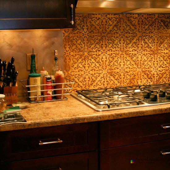 Stenciled Kitchen Back-splash