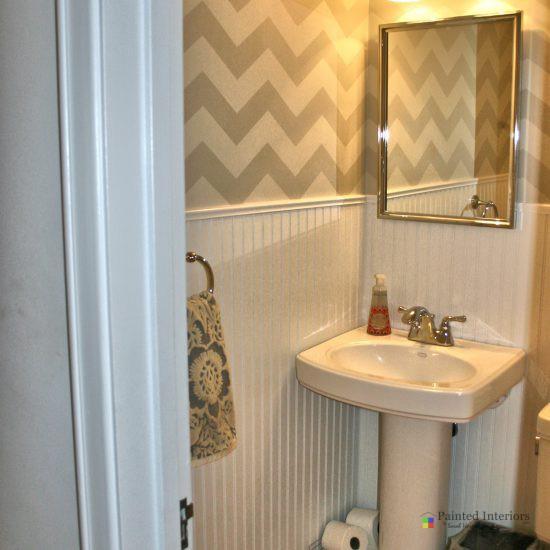 chevron stenciled bathroom