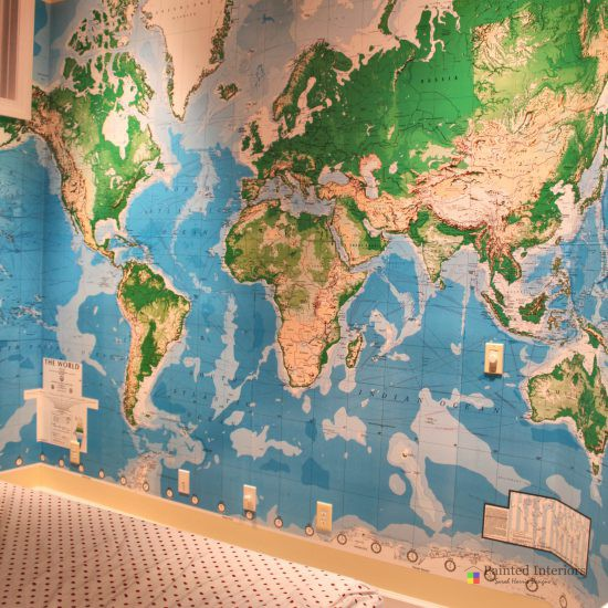 wallpaper map of the world mural