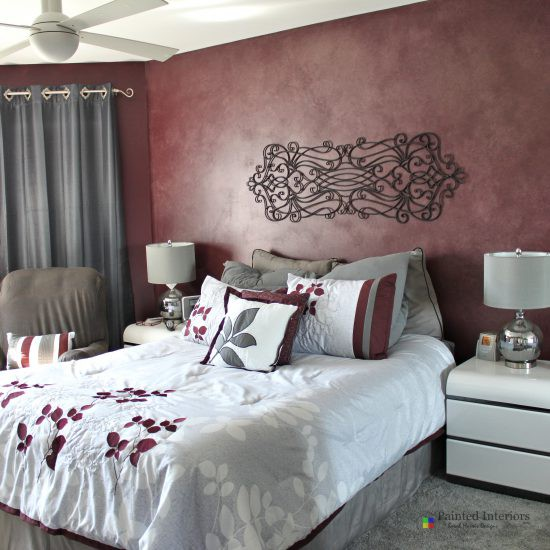 cranberry faux painted accent wall
