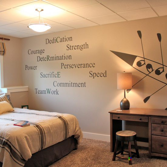 crew inspired bedroom with nonoperational hand painted quote