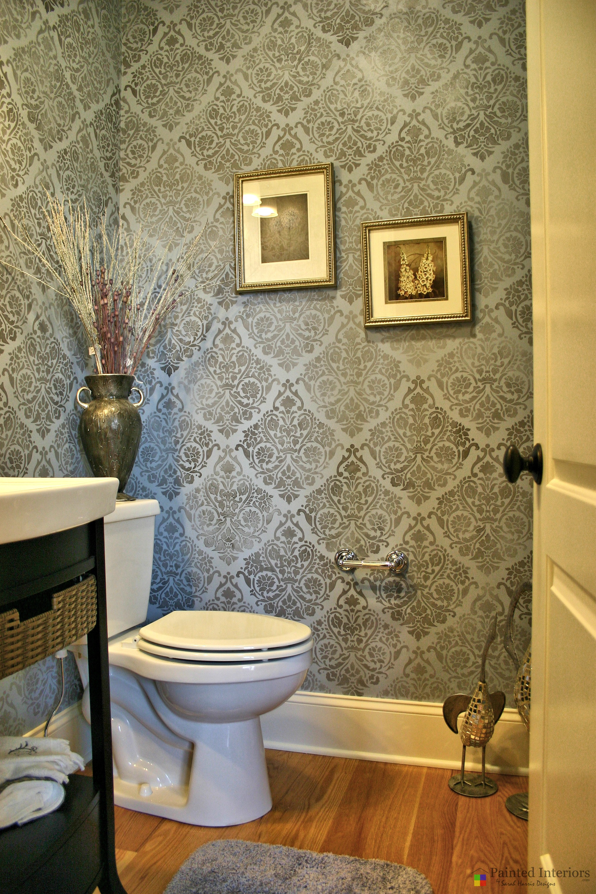 stenciled powder room