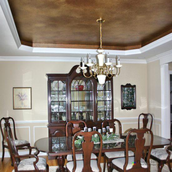 brown metallic faux painted trey ceiling
