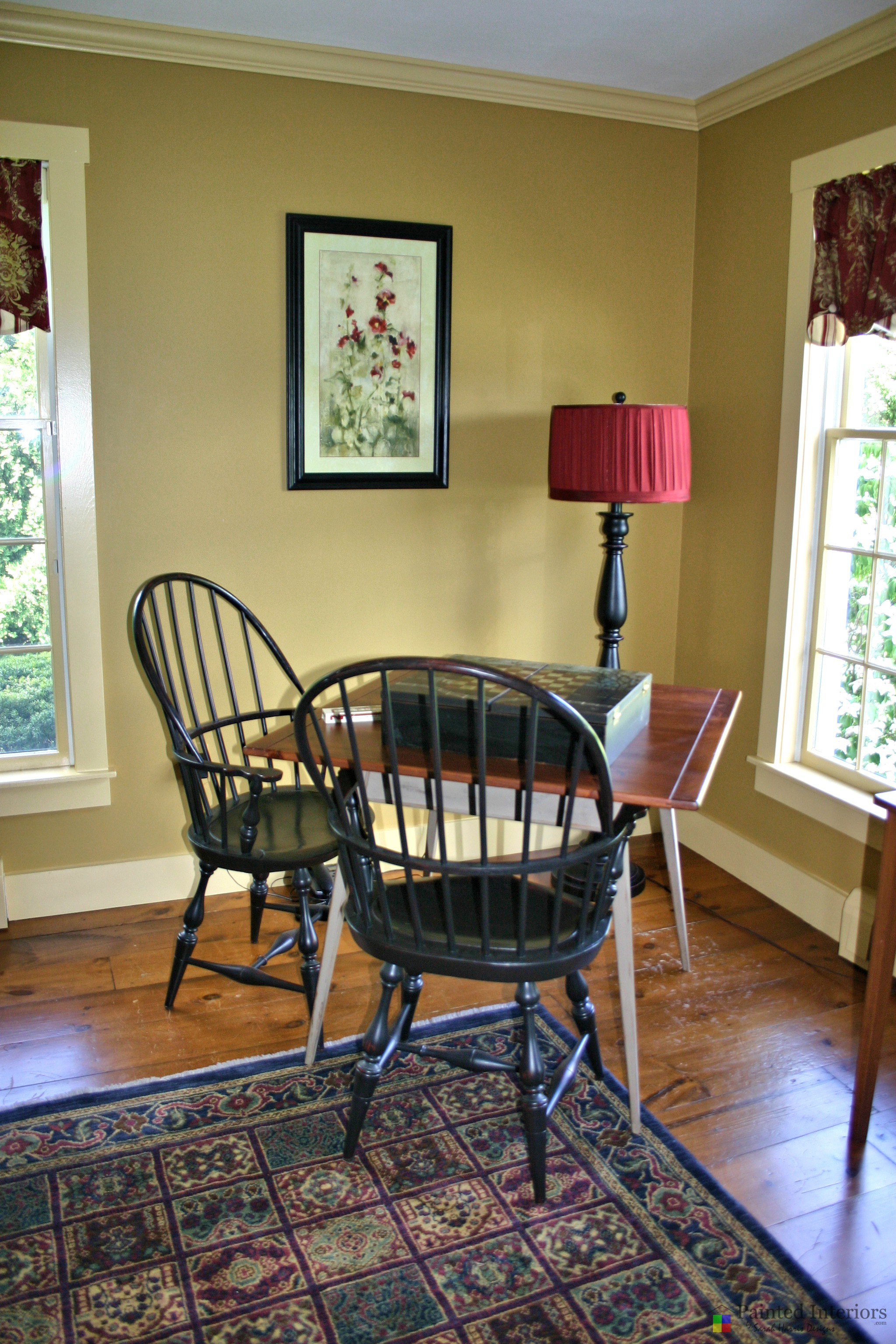 richly painted walls with coordinating trim