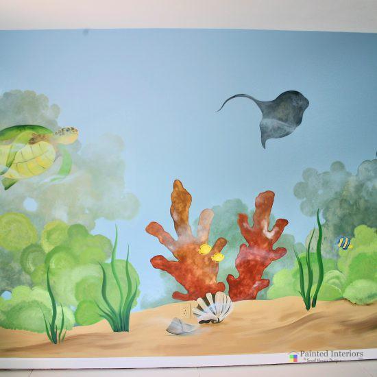 underwater hand painted mural