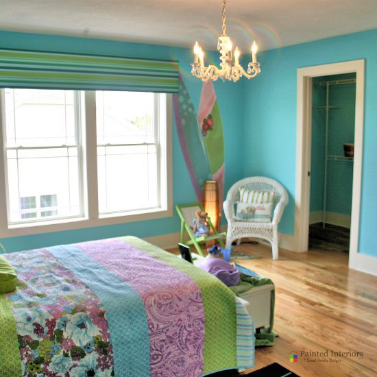 surfer girl themed room with painted surfboards