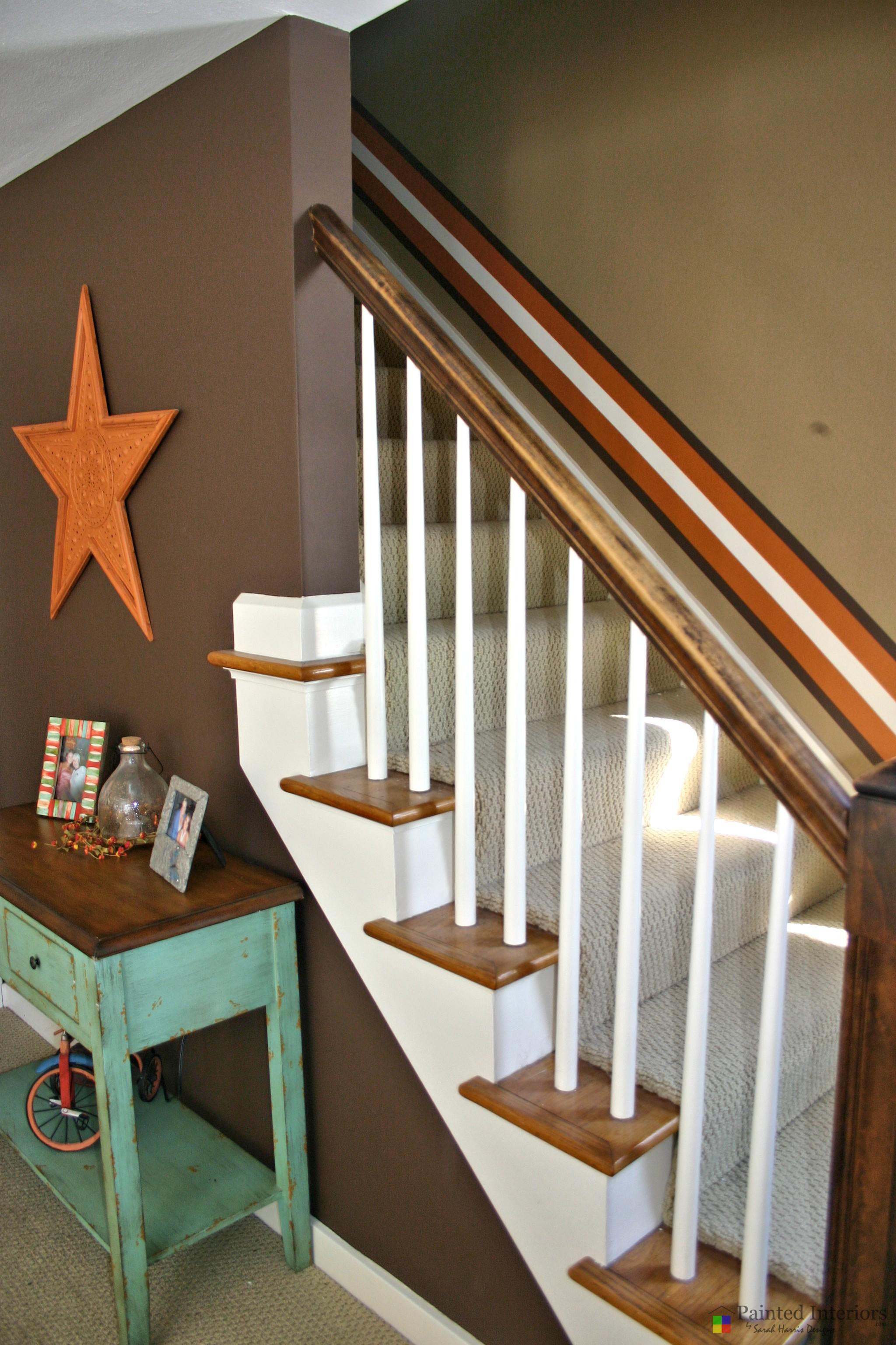 custom hand painted stairway stripe