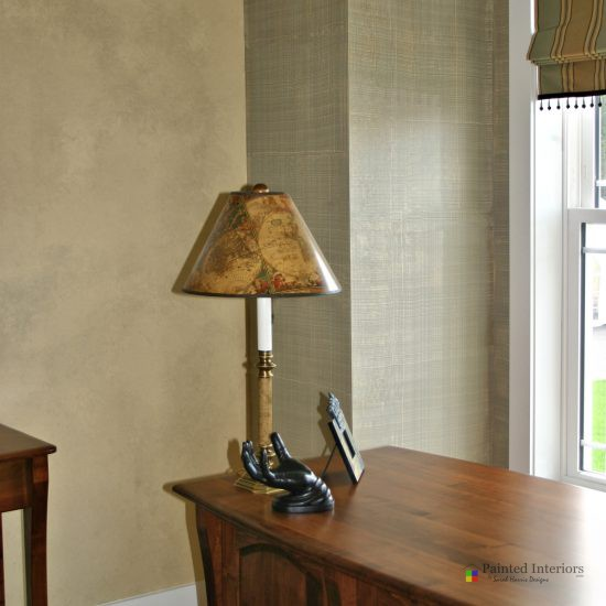 hand painted faux linen weave walls
