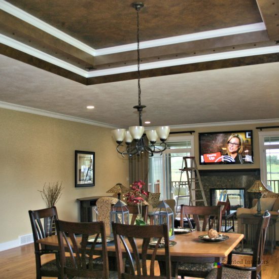 trey ceiling with metallic faux and metal accents