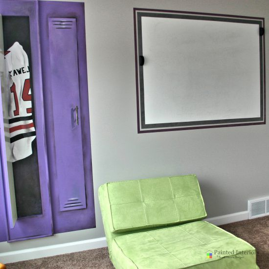 hockey themed room with trompe l'oeil lockers and sports equipment