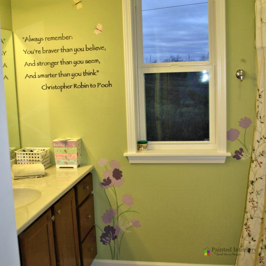 custom painted quote with flowers