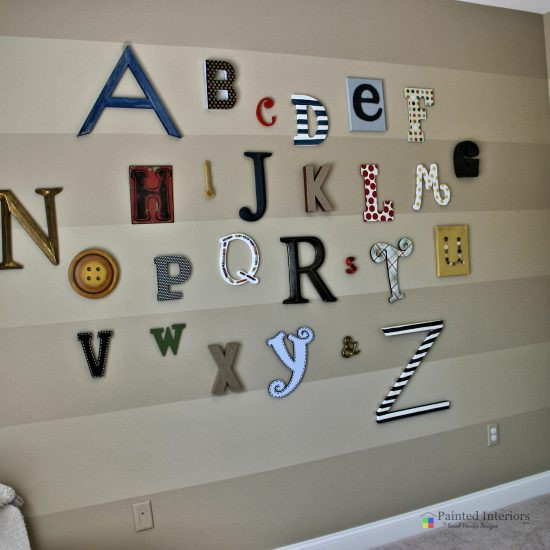 hand painted stripes with custom made letters