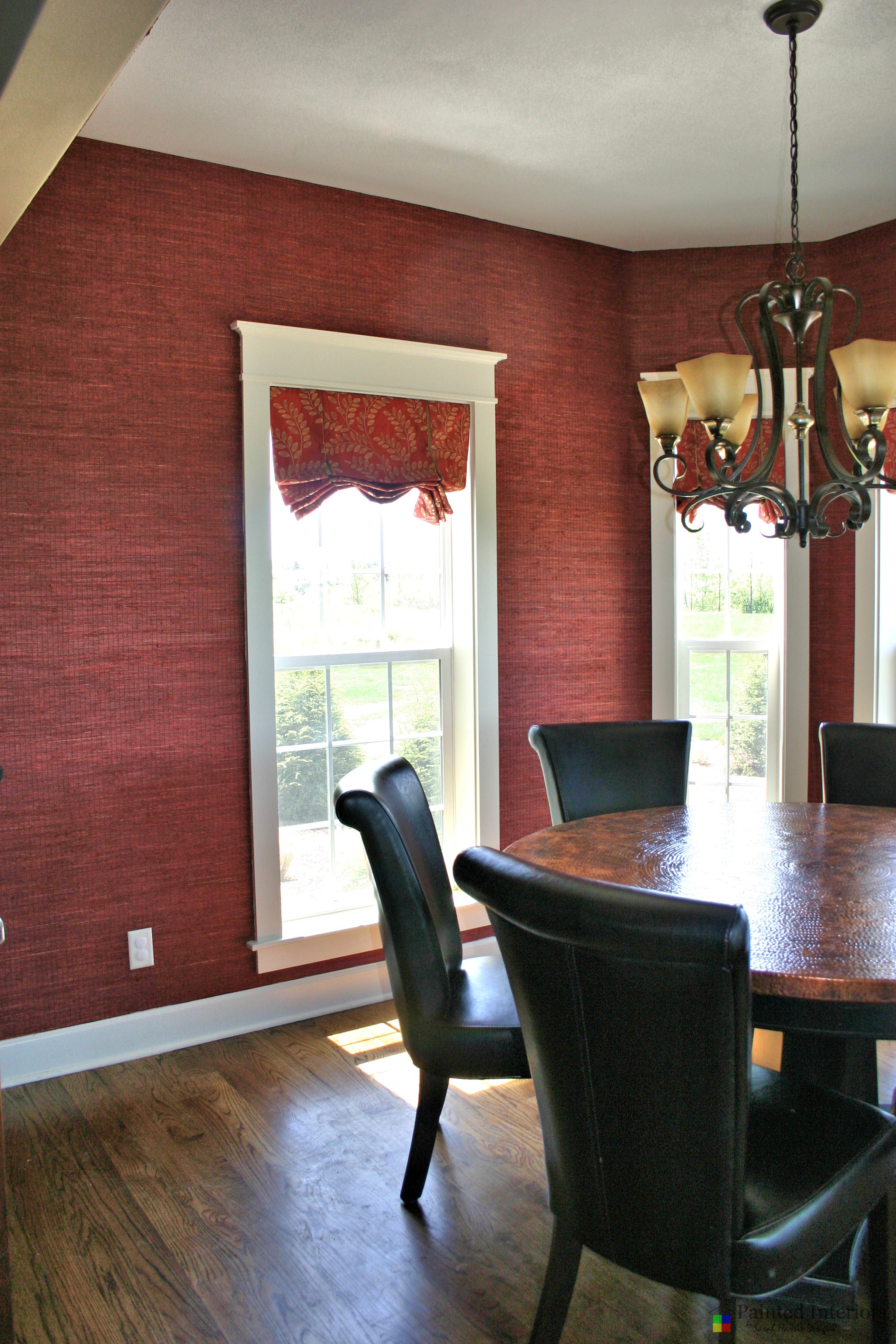 deep red grasscloth wallpaper