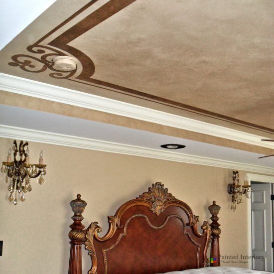 faux finished ceiling with stencil