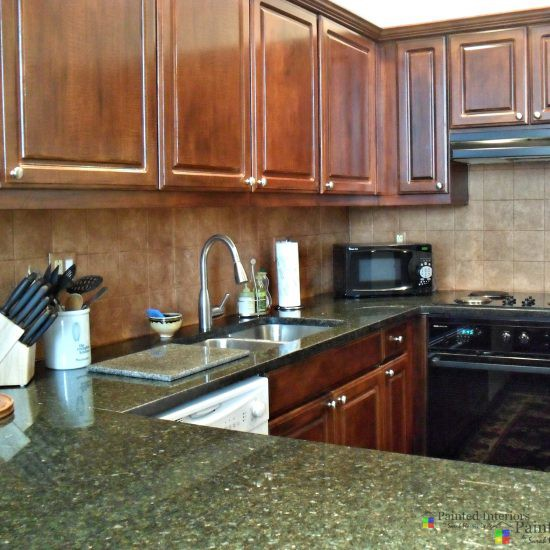 faux wood painted cabinets and painted glazed tile