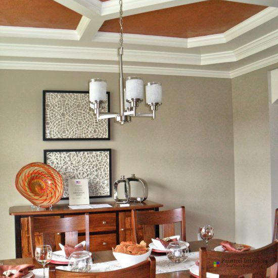 coffered ceiling with Venetian plaster