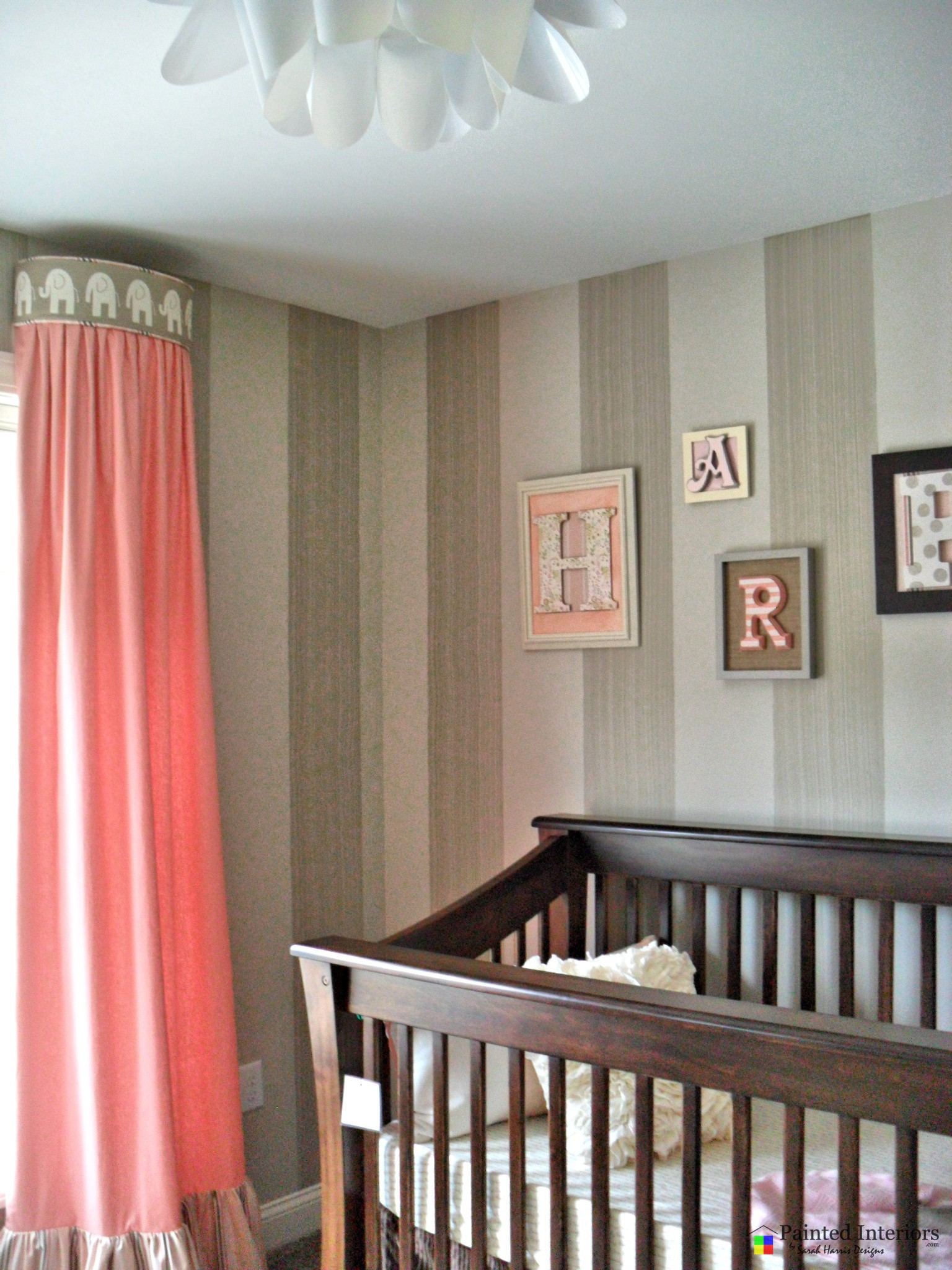 nursery with hand painted stripes (dragging strie)