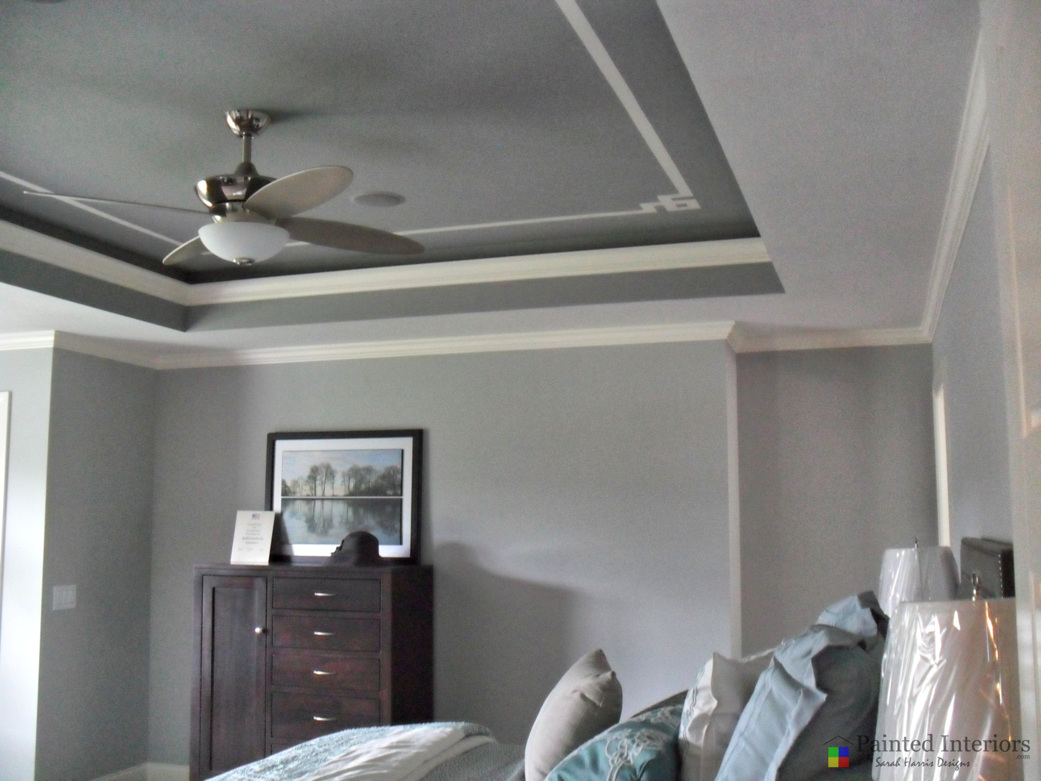 trey ceiling with gray and creme hand painted stripes
